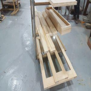 와이드 윈도우 스윙도어 양쪽 여닫이 원목 중문(투명강화유리)(소나무) (1110*2200*100)
