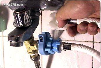 욕조수도, 앵글밸브에서 연수기, 세탁기 배관 간단 분기방법(동영상)