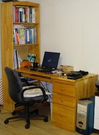 버린 원목 책상상판으로 만든 욕실 세면대 하단장