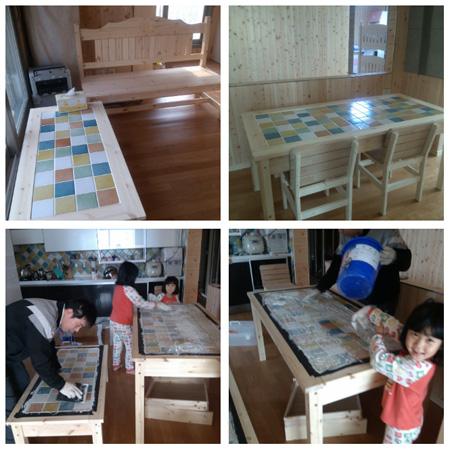 타일식탁과 쌍둥이 좌탁 하트 벤치의자. 거실장. 신발장. 미닫이문