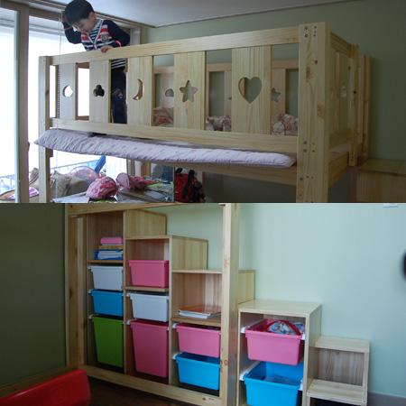 딸아이를 위한 집성목으로 만든 벙커 침대