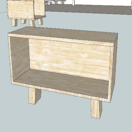 집성목으로 만든 여러가지 수납선반 및 테이블