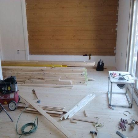 원목양문.타일벽.인테리어벽