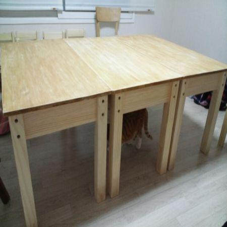 소나무 책상 3개 조립+ 오래된 tv 가림막을 만들었어요^^